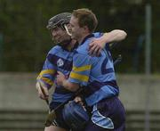 18 April 2001; UCD players Pat Tennyson, left, and Alan Barry celebrate after the Fitzgibbon Cup Final Replay match between UCD and UCC at McDonagh Park in Nenagh, Tipperary. Photo by Ray McManus/Sportsfile