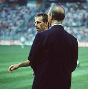 21 June 1990; Republic of Ireland manager Jack Charlton speaks to captain Mick McCarthy ahead of the FIFA World Cup 1990 Group F match between Republic of Ireland and Netherlands at Stadio La Favorita in Palermo, Italy. Photo by Ray McManus/Sportsfile