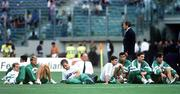 25 June 1990; Republic of Ireland manager Jack Charlton with his players, including captain Mick McCarthy, ahead of the FIFA World Cup 1990 Round of 16 match between Republic of Ireland and Romania at the Stadio Luigi Ferraris in Genoa, Italy. Photo by Ray McManus/Sportsfile