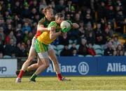 28 February 2016; Christy Toye, Donegal, in action against Donal Vaughan, Mayo. Allianz Football League, Division 1, Round 3, Donegal v Mayo, MacCumhaill Park, Ballybofey, Co. Donegal. Picture credit: Oliver McVeigh / SPORTSFILE