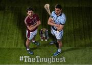 29 February 2016; Shane McNaughton, from Ruairí Óg, Cushendall, is pictured alongside Na Piarsaigh's David Breen ahead of their clash in the AIB GAA Senior Hurling Club Championship Final in Croke Park on St Patrick's Day. For exclusive content and to see why AIB are backing Club and County follow us @AIB_GAA and on Facebook at Facebook.com/AIBGAA. AIB GAA Senior Football Club Championship Finals Media Day. Grand Canal Quay, Dublin. Picture credit: Ramsey Cardy / SPORTSFILE
