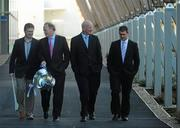 10 February 2010; At the launch of the Allianz GAA hurling leagues 2010, from left, Denis Walsh, Cork manager, Brendan Murphy, CEO Allianz Ireland, Brian Cody, Kilkenny manager, Liam Sheedy, Tipperary manager. Allianz Headquarters, Allianz House, Elmpark, Merrion Road, Dublin. Picture credit: Stephen McCarthy / SPORTSFILE