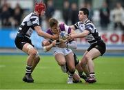 1 March 2016; Michael Silvester, Clongowes Wood College, is tackled by Jack Canning, left, and Philip O'Shea, Cistercian College Roscrea. Bank of Ireland Leinster Schools Senior Cup, Semi-Final, Clongowes Wood College v Cistercian College Roscrea, Donnybrook Stadium, Donnybrook, Dublin. Picture credit: David Maher / SPORTSFILE