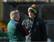 28 February 2016; Stephen Rochford, Mayo manager, left, chats to selector Tony McEntee before the game. Allianz Football League, Division 1, Round 3, Donegal v Mayo, MacCumhaill Park, Ballybofey, Co. Donegal. Picture credit: Oliver McVeigh / SPORTSFILE