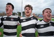 3 March 2016; Belvedere players, from left, Brian Egan, James Kenny and Conor Jennings celebrate after the game. Bank of Ireland Leinster Schools Senior Cup Semi-Final, Belvedere College v St. Michael's College. Donnybrook Stadium, Donnybrook, Dublin. Picture credit: Sam Barnes / SPORTSFILE