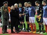 4 March 2016; The President of Ireland Michael D. Higgins shakes hands with Ger O'Brien, St Patricks Athletic, before the game. SSE Airtricity League Premier Division, St Patrick's Athletic v Galway United. Richmond Park, Dublin. Picture credit: Sam Barnes / SPORTSFILE