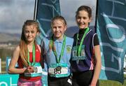 5 March 2016; Minor girls 2000m medallists, from left, Meghan Carr, Loreto Fermoy, Aimee Kenna, St Mac Daras, and Lucy O'Keeffe, St.Mary's Midleton, at the GloHealth All-Ireland Schools and Irish Universities Cross Country Championships. Showgrounds, Sligo. Picture credit: Sam Barnes / SPORTSFILE