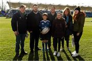 5 March 2016; Leinster matchday mascots Michael Sullivan and family with Leinster's Marty Moore and Isaac Boss at the Guinness PRO12, Round 17, clash between Leinster and Ospreys at the RDS Arena, Ballsbridge, Dublin. Picture credit: Stephen McCarthy / SPORTSFILE