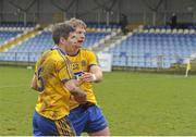 6 March 2016; Sean Purcell, left, and Cathal McHugh, Roscommon, celebrate after the game. Allianz Football League, Division 1, Round 4, Roscommon v Down. Glennon Brothers Pearse Park, Longford. Picture credit: Sam Barnes / SPORTSFILE