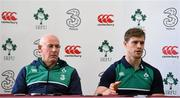 7 March 2016; Ireland team manager Mick Kearney, left, and Andrew Trimble during a press conference. Ireland Rugby Press Conference. Carton House, Maynooth, Co. Kildare. Picture credit: Ramsey Cardy / SPORTSFILE