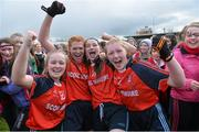 7 March 2016; Scoil Mhuire, Carrick on Suir, Tipperary, players, from left Claire Hennebry, Aoife Doyle, Emma Curry and Emily McCarthy celebrate after the final whistle. Lidl All Ireland Senior A Post Primary Schools Championship Final, Coláiste Iosagain, Stillorgan, Dublin v Scoil Mhuire, Carrick on Suir, Tipperary. Nowlan Park, Kilkenny. Picture credit: Matt Browne / SPORTSFILE