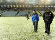 20 February 2010; Team managers Liam Sheedy, left, of Tipperary and Brian Cody of Kilkenny inspect the pitch amid falling snow before the game was called off. Allianz GAA Hurling National League, Division 1 Round 1, Tipperary v Kilkenny, Semple Stadium, Thurles, Co. Tipperary. Picture credit: Brendan Moran / SPORTSFILE
