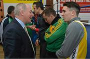 9 March 2016; Michael Ring, T.D., Minister of State for Tourism & Sport, meets boxer Michael Conlan with the IABA High Performance Squad before a training session to mark 150 days to go to the Rio 2016 Olympic Games. National Boxing Stadium, Dublin. Picture credit: Cody Glenn / SPORTSFILE
