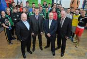 9 March 2016; Fergal Carruth, CEO IABA, from left, Ciaran Kirwan, Director IABA, Michael Ring, T.D. Minister of State for Tourism & Sport, and Pat Ryan, President IABA, with boxers and coaches with the IABA High Performance Squad before a training session to mark 150 days to go to the Rio 2016 Olympic Games. National Boxing Stadium, Dublin. Picture credit: Cody Glenn / SPORTSFILE