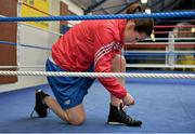 9 March 2016; Katie Taylor gets ready to work out before an IABA High Performance Squad training session. National Boxing Stadium, Dublin. Picture credit: Cody Glenn / SPORTSFILE