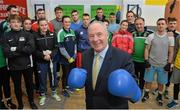 9 March 2016; Michael Ring, T.D., Minister of State for Tourism & Sport meets boxers and coaches with the IABA High Performance Squad before a training session to mark 150 days to go to the Rio 2016 Olympic Games. National Boxing Stadium, Dublin. Picture credit: Cody Glenn / SPORTSFILE