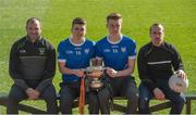 9 March 2016; In attendance at the Masita Post Primary School Championships Launch are, from left, Steven McDonnell, Masita Ambassador, Tommy Kinsella and Adam McDermott, Dunshaughlin CC, and Stephen Reddy, Masita. Croke Park, Dublin. Picture credit: Piaras Ó Mídheach / SPORTSFILE