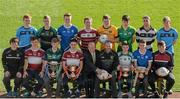 9 March 2016; In attendance at the Masita Post Primary School Championships Launch are back row, from left,  Kevin Banks, Summerhill College, Callum Pearson, St Benildus College, Tommy Kinsella, Dunshaughlin CC, Noel Fogarty, Our Lady's SS Templemore, John Daly, Holy Rosary, Mount Bellew, Daniel O'Brien, Tommy Walsh, St Kieran's College and Seán Power, Summerhill College. Front row, from left, Michael Cody, St Kieran's College, Joe Kelly, Presentation College Athenry, David Doheny, Coláiste Mhuire, Evan Niland, Presentation College Athenry, Des Smith, Masita, Masita Ambassador Steven McDonnell, Tommy Lowry, Abbey CBS, Adam McDermott, Dunshaughlin CC, James Foley. Croke Park, Dublin. Picture credit: Piaras Ó Mídheach / SPORTSFILE