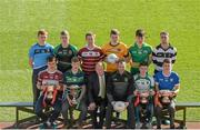 9 March 2016; In attendance at the Masita Post Primary School Championships Launch are back row, from left,  Kevin Banks, Summerhill College, Callum Pearson, St Benildus College, Noel Fogarty, Our Lady's CC Templemore, John Daly, Holy Rosary Mount Bellew, Daniel O'Brien, St Brendan's College, Tommy Walsh, St Kieran's College. Front row, from left, Joe Kelly, Presentation College Athenry, David Doheny, Coláiste Mhuire, Des Smith, Masita, Masita Ambassado Steven McDonnell, Tommy Lowry, Abbey CBS, Adam McDermott, Dunshaughlin CC. Croke Park, Dublin. Picture credit: Piaras Ó Mídheach / SPORTSFILE