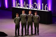 11 March 2016; The Terenure College Student Committee, from left, Matthew O'Shea, Shane Curran, Tom Muldoon and Jamie Devlin, at the 10th Annual Terenure College 'Leaders On Our Level' at the Convention Centre. The event, completely organised by the transition year students of Terenure College in Dublin, saw a series of speakers inspire and motivate the 2000 students in attendance. Special guests included adventurer Mark Pollock, musician and author Bressie, ex Ireland Women's Rugby Captain Fiona Coghlan, Kerry footballing Legend Colm Cooper, Fiona Carey, Director of Operations, Microsoft, sports psychologist Enda McNulty, Michael Carey, Chairman, Bord Bia, Donna Reilly, HR Business Partner, AIB, Fr. Peter McVerry and Bernard Byrne, Chief Executive, AIB. Convention Centre, Dublin.  Picture credit: Ramsey Cardy / SPORTSFILE