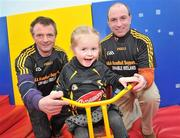 23 February 2010; The All-Ireland winning Kilkenny hurling squad, along with past players, and Ireland's top handballers, are preparing to don a jersey of a different nature on Saturday the 6th of March - taking to the roads of Kilkenny for a thirteen stage cycle around Kilkenny City to raise money for Enable Ireland. The Cats pedalling line up includes current stars such as Henry Shefflin and Tommy Walsh, as well as former giants of the game DJ Carey, Joe Hennessy and Noel Skehan. The event has been organised by Kilkenny handball legend Michael 'Ducksy' Walsh, who amassed and incredible 38 All-Ireland senior titles. Still playing at the top levels of the sport, Ducksy now dedicates much of his time to charity fundraising. The event is also being supported by the GAA and by the Irish Handball Council. At the announcement of the final route for the cycle are Aine Alyward, age 4, from Knocktopher, Kilkenny, with Kilkenny handball legend Michael 'Ducksy' Walsh, left, and Kilkenny hurling legend D.J. Carey. Enable Ireland, O'Neill Centre, St. Joseph's Road, Kilkenny. Picture credit: Brian Lawless / SPORTSFILE