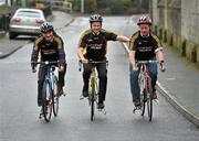 23 February 2010; The All-Ireland winning Kilkenny hurling squad, along with past players, and Ireland's top handballers, are preparing to don a jersey of a different nature on Saturday the 6th of March - taking to the roads of Kilkenny for a thirteen stage cycle around Kilkenny City to raise money for Enable Ireland. The Cats pedalling line up includes current stars such as Henry Shefflin and Tommy Walsh, as well as former giants of the game DJ Carey, Joe Hennessy and Noel Skehan. The event has been organised by Kilkenny handball legend Michael 'Ducksy' Walsh, who amassed and incredible 38 All-Ireland senior titles. Still playing at the top levels of the sport, Ducksy now dedicates much of his time to charity fundraising. The event is also being supported by the GAA and by the Irish Handball Council. At the announcement of the final route for the cycle are Hurling All-Star of the Year Kilkenny's Tommy Walsh, with former Kilkenny hurler Joe Hennessy, right, and Kilkenny handball legend Michael 'Ducksy' Walsh, left. Enable Ireland, O'Neill Centre, St. Joseph's Road, Kilkenny. Picture credit: Brian Lawless / SPORTSFILE
