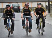 23 February 2010; The All-Ireland winning Kilkenny hurling squad, along with past players, and Ireland's top handballers, are preparing to don a jersey of a different nature on Saturday the 6th of March - taking to the roads of Kilkenny for a thirteen stage cycle around Kilkenny City to raise money for Enable Ireland. The Cats pedalling line up includes current stars such as Henry Shefflin and Tommy Walsh, as well as former giants of the game DJ Carey, Joe Hennessy and Noel Skehan. The event has been organised by Kilkenny handball legend Michael 'Ducksy' Walsh, who amassed and incredible 38 All-Ireland senior titles. Still playing at the top levels of the sport, Ducksy now dedicates much of his time to charity fundraising. The event is also being supported by the GAA and by the Irish Handball Council. At the announcement of the final route for the cycle are Hurling All-Star of the Year Kilkenny's Tommy Walsh, right, with former Kilkenny hurler Joe Hennessy, centre, and Kilkenny handball legend Michael 'Ducksy' Walsh. Enable Ireland, O'Neill Centre, St. Joseph's Road, Kilkenny. Picture credit: Brian Lawless / SPORTSFILE