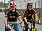 23 February 2010; The All-Ireland winning Kilkenny hurling squad, along with past players, and Ireland's top handballers, are preparing to don a jersey of a different nature on Saturday the 6th of March - taking to the roads of Kilkenny for a thirteen stage cycle around Kilkenny City to raise money for Enable Ireland. The Cats pedalling line up includes current stars such as Henry Shefflin and Tommy Walsh, as well as former giants of the game DJ Carey, Joe Hennessy and Noel Skehan. The event has been organised by Kilkenny handball legend Michael 'Ducksy' Walsh, who amassed and incredible 38 All-Ireland senior titles. Still playing at the top levels of the sport, Ducksy now dedicates much of his time to charity fundraising. The event is also being supported by the GAA and by the Irish Handball Council. At the announcement of the final route for the cycle is former Kilkenny hurler Joe Hennessy, left, with Hurling All-Star of the Year Kilkenny's Tommy Walsh. Enable Ireland, O'Neill Centre, St. Joseph's Road, Kilkenny. Picture credit: Brian Lawless / SPORTSFILE