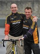 23 February 2010; The All-Ireland winning Kilkenny hurling squad, along with past players, and Ireland's top handballers, are preparing to don a jersey of a different nature on Saturday the 6th of March - taking to the roads of Kilkenny for a thirteen stage cycle around Kilkenny City to raise money for Enable Ireland. The Cats pedalling line up includes current stars such as Henry Shefflin and Tommy Walsh, as well as former giants of the game DJ Carey, Joe Hennessy and Noel Skehan. The event has been organised by Kilkenny handball legend Michael 'Ducksy' Walsh, who amassed and incredible 38 All-Ireland senior titles. Still playing at the top levels of the sport, Ducksy now dedicates much of his time to charity fundraising. The event is also being supported by the GAA and by the Irish Handball Council. At the announcement of the final route for the cycle are Kilkenny hurling great D.J. Carey, left, and Kilkenny handball legend Michael 'Ducksy' Walsh, right. Enable Ireland, O'Neill Centre, St. Joseph's Road, Kilkenny. Picture credit: Brian Lawless / SPORTSFILE