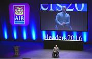 11 March 2016; Adventurer, athlete and author Mark Pollock speaking at the 10th Annual Terenure College 'Leaders On Our Level' at the Convention Centre. The event, completely organised by the transition year students of Terenure College in Dublin, saw a series of speakers inspire and motivate the 2000 students in attendance. Special guests included adventurer Mark Pollock, musician and author Bressie, ex Ireland Women's Rugby Captain Fiona Coghlan, Kerry footballing Legend Colm Cooper, Fiona Carey, Director of Operations, Microsoft, sports psychologist Enda McNulty, Michael Carey, Chairman, Bord Bia, Donna Reilly, HR Business Partner, AIB, Fr. Peter McVerry and Bernard Byrne, Chief Executive, AIB. Convention Centre, Dublin.  Picture credit: Ramsey Cardy / SPORTSFILE
