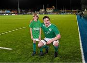 11 March 2016; Electric Ireland matchday mascot Jack Cooney, age 11, from Kilbarrack, Dublin, with Ireland captain James Ryan ahead of the game. Electric Ireland U20 Six Nations Rugby Championship - Ireland v Italy. Donnybrook Stadium, Donnybrook, Dublin.  Picture credit: Stephen McCarthy / SPORTSFILE