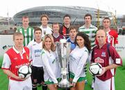 26 February 2010; Airtricity Premier Division players, from left, Conor Sinnott, St. Patrick's Athletic, Chris Shiels, Bray Wanderers, Steven Maher, Dundalk, Steven Paisley, Sporting Fingal, Brendan McGill, Drogheda United, Ken Oman, Bohemians, Greg Bolger, UCD, Craig Sives, Shamrock Rovers, Toma Heary, Galway United, and Iorlaigh Davoren, Sligo Rovers, with models Jenny Lee Masterson, left, and Georgia Salpa at the launch of 2010 Airtricity League. D4 Berkely Hotel, Ballsbridge, Dublin. Picture credit: David Maher / SPORTSFILE