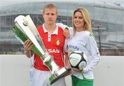 26 February 2010; Conor Sinnott, St. Patrick's Athletic, with model Jenny Lee Masterson at the launch of 2010 Airtricity Preimer Division. D4 Berkely Hotel, Ballsbridge, Dublin. Picture credit: David Maher / SPORTSFILE