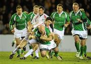 26 February 2010; Gary Halpin, Ireland Legends, is tackled by Martin Corry, England Legends. The Stuart Mangan Memorial Cup, England Legends v Ireland Legends, The Stoop, Twickenham, London. Picture credit: Brendan Moran / SPORTSFILE