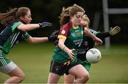 12 March 2016; Michaela Doyle, St Ronan's College Lurgan, Armagh, in action against Maeve Phelan and Eabha Dunne, Scoil Chríost Rí, Portlaoise. Lidl All Ireland Junior A Post Primary Schools Championship Final 2016, Scoil Chríost Rí, Portaoise, v St Ronan's College Lurgan, Armagh. Park Oliver Plunketts, Drogheda, Co. Louth. Picture credit: Oliver McVeigh / SPORTSFILE