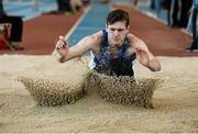 12 March 2016; Dion Ryan, Waterford A.C., competing in the Boys U18 Long Jump. GloHealth Juvenile Indoor Championships. AIT, Athlone, Co. Westmeath. Picture credit: Sam Barnes / SPORTSFILE