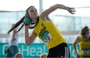 12 March 2016; Emily Brennan, Glaslough Harriers A.C., in action during the Girls U16 Shot Put. GloHealth Juvenile Indoor Championships. AIT, Athlone, Co. Westmeath. Picture credit: Sam Barnes / SPORTSFILE