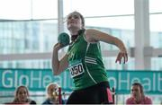 12 March 2016; Aoife Jane Lenehan, Cushinstown A.C., in action during the Girls U16 Shot Put. GloHealth Juvenile Indoor Championships. AIT, Athlone, Co. Westmeath. Picture credit: Sam Barnes / SPORTSFILE