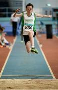 12 March 2016; Lukas Schukat, Craughwell A.C., in action during the Boys U13 Long Jump. GloHealth Juvenile Indoor Championships. AIT, Athlone, Co. Westmeath. Picture credit: Sam Barnes / SPORTSFILE