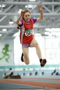 12 March 2016; Eva Keogh, Fingallians A.C., in action during the Girls U13 Long Jump . GloHealth Juvenile Indoor Championships. AIT, Athlone, Co. Westmeath. Picture credit: Sam Barnes / SPORTSFILE
