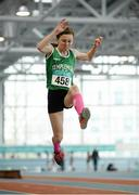 12 March 2016; Neassa Towey, Templemore A.C., in action during the Girls U13 Long Jump . GloHealth Juvenile Indoor Championships. AIT, Athlone, Co. Westmeath. Picture credit: Sam Barnes / SPORTSFILE
