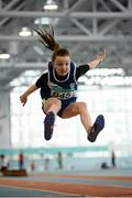 12 March 2016; Rebecca Lyons, Thomastown A.C. in action during the Girls U13 Long Jump . GloHealth Juvenile Indoor Championships. AIT, Athlone, Co. Westmeath. Picture credit: Sam Barnes / SPORTSFILE