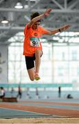 12 March 2016; Grainne O'Sullivan, Bray Runners A.C., in action during the Girls U13 Long Jump . GloHealth Juvenile Indoor Championships. AIT, Athlone, Co. Westmeath. Picture credit: Sam Barnes / SPORTSFILE