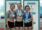 12 March 2016; Girls U19 400m medallists, from left, bronze medallist, Rachel Dunne, Dundrum South Dublin A.C., gold medallist Mollie O'Reilly, Dundrum South Dublin A.C., and bronze medallist, Sophie McCabe, Bree A.C. GloHealth Juvenile Indoor Championships. AIT, Athlone, Co. Westmeath. Picture credit: Sam Barnes / SPORTSFILE
