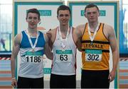 12 March 2016; Boys U19 400m medallists, from left, bronze medallist, Sam Power, St L.O'Toole A.C., gold medallist Christopher O'Donnell, North Sligo A.C., and silver medallist, Sean O'Callaghan, Leevale A.C. GloHealth Juvenile Indoor Championships. AIT, Athlone, Co. Westmeath. Picture credit: Sam Barnes / SPORTSFILE