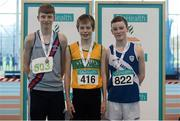 12 March 2016; Boys U15 high jump medallists, from left, bronze medallist, Liam Jenkins, Dundrum South Dublin A.C., gold medallist, Conor Blake, St Johns A.C., and silver medallist, Larlaith Golding, Clare Morris A.C. GloHealth Juvenile Indoor Championships. AIT, Athlone, Co. Westmeath. Picture credit: Sam Barnes / SPORTSFILE