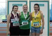 12 March 2016; Girls U15 Shot Putt medallists, from left, bronze medallist, Shauna Leydon, Mullingar Harriers A.C., gold medallist, Ciara Sheehy, Liscarroll A.C., and silver medallist, Chloe Casey, Loughrea A.C. GloHealth Juvenile Indoor Championships. AIT, Athlone, Co. Westmeath. Picture credit: Sam Barnes / SPORTSFILE