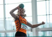 12 March 2016; Sophie Meredith, St Mary's A.C., Co. Limerick, in action during the Girls U16 Shot Put. GloHealth Juvenile Indoor Championships. AIT, Athlone, Co. Westmeath. Picture credit: Sam Barnes / SPORTSFILE