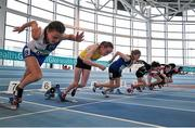 12 March 2016; A general view of the start of the Girls U13 60m heats. GloHealth Juvenile Indoor Championships. AIT, Athlone, Co. Westmeath. Picture credit: Sam Barnes / SPORTSFILE
