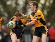 26 February 2010; Darach Mooney, DCU, in action against Paul Cashin, NUI Maynooth. Ulster Bank Sigerson Cup Semi-Final, National University of Maynooth v Dublin City University, Pairc na Gael, North Campus, NUI Maynooth, Co. Kildare. Picture credit: Pat Murphy / SPORTSFILE